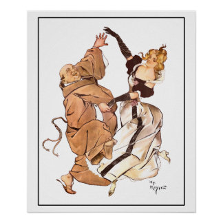 Gay 90's Monk & Lady Dancing by Henry Mayer Poster