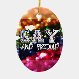 Gay and Proud Rainbow Design Ceramic Oval Ornament