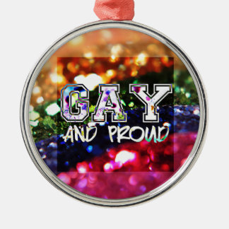 Gay and Proud Rainbow Design Silver-Colored Round Ornament