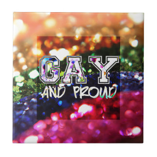 Gay and Proud Rainbow Design Tile