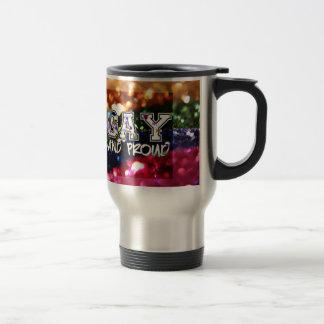 Gay and Proud Rainbow Design Travel Mug