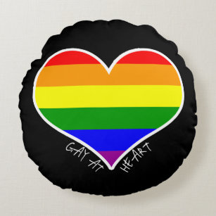 """Gay at Heart Round Throw Pillow (16"""")"""