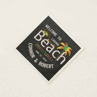 Gay Beach Wedding Rainbow Style Custom Disposable Napkins