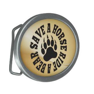 Gay Bear Bear Paw Save a Horse Ride A Bear Oval Belt Buckles