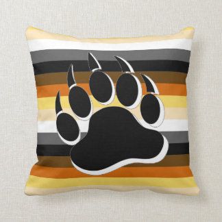 Gay Bear claw B&W 3D effect Bear Pride Colours Throw Pillow
