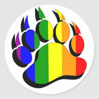 Gay Bear claw  rainbow with black shadow Classic Round Sticker