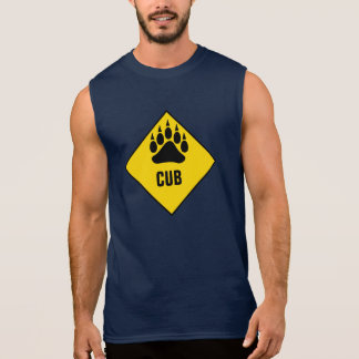 Gay Bear Cub Bear Paw Yellow Road Sign Sleeveless Shirt