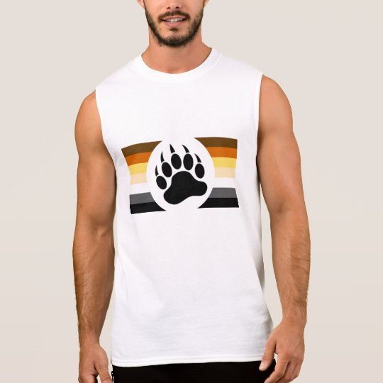 Gay Bear Pride colours stripes and Bear Paw Sleeveless Shirt