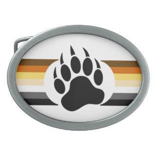 Gay Bear Pride Flag Bear Paw Oval Belt Buckle