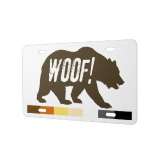 Gay Bear Pride Flag Bear WOOF License Plate