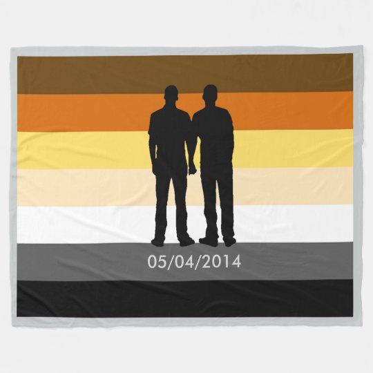Gay Bear Pride Flag Custom Wedding Date Fleece Blanket