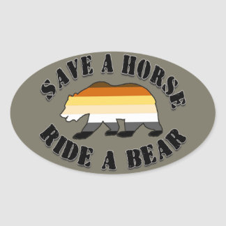Gay Bear Pride Save a Horse Ride Bear Oval Sticker