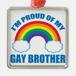 Gay Brother Silver-Colored Square Ornament