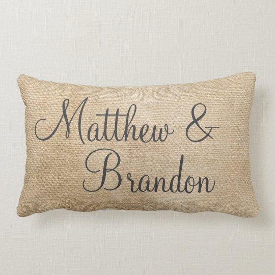 Gay Burlap Vintage Personalize Wedding Names Date Lumbar Pillow