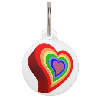 Gay colorful heart pet name tag