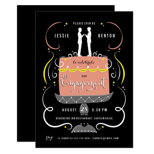 Gay Couple Cake Topper Engagement Party Card