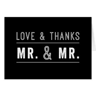 Gay Couple Mr. & Mr. Wedding Thank You Cards