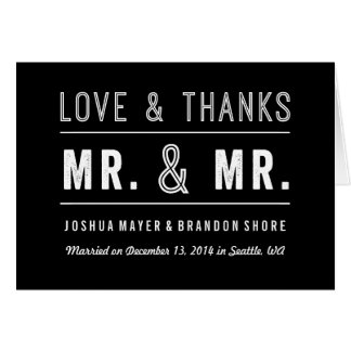 Gay Couple Wedding Thank You Card Mr. & Mr.