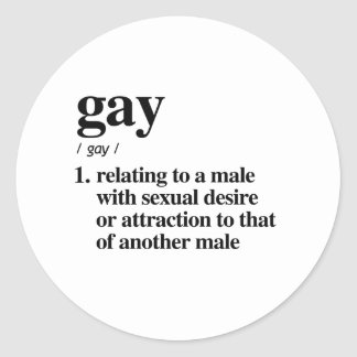 Gay Definition - Defined LGBTQ Terms - Classic Round Sticker
