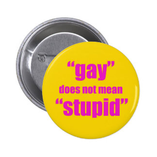 Gay does not mean stupid 2 inch round button