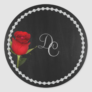 Gay Elegant Black and Silver Sticker with Rose