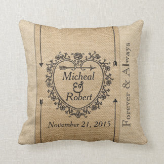 Gay Fancy Burlap Anniversary Date Heart Throw Pillow