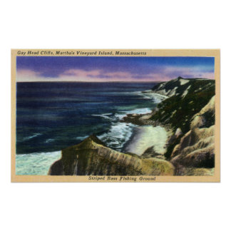 Gay Head Cliffs, Striped Bass Fishing Grounds Poster