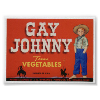 Gay Johnny Vintage Old Vegetables Crate Labels Ad Poster