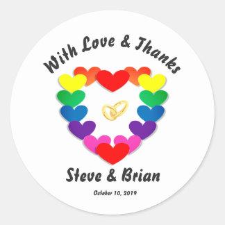 Gay Lesbian Custom Wedding Favor Round Stickers