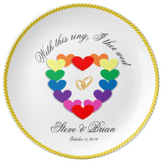 Gay Lesbian Personalized Wedding Gifts Plate