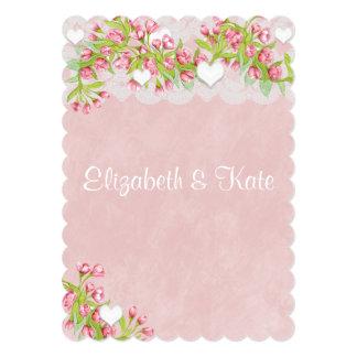 Gay Lesbian Pink & White FlowersWedding Invitation
