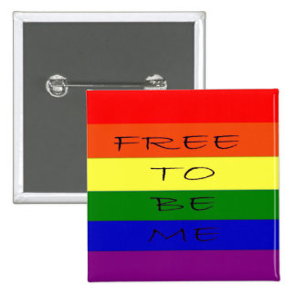 Gay, Lesbian Rainbow Buttom 2 Inch Square Button