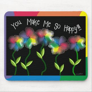 Gay Lesbian Rainbow Flowers Mouse Pad