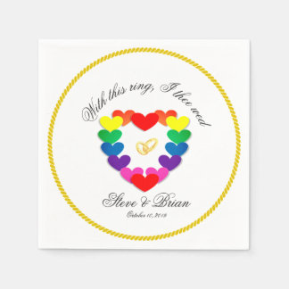Gay Lesbian Wedding Party Custom Paper Napkins