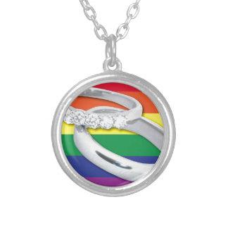 Gay Lesbian Wedding Round Pendant Necklace