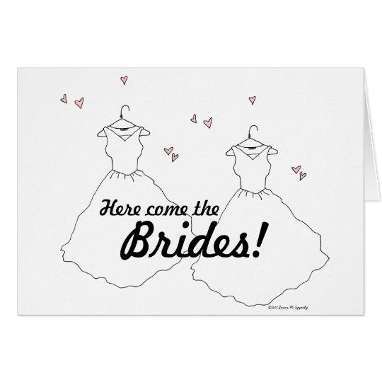 Gay Lesbian Wedding Two Brides Card