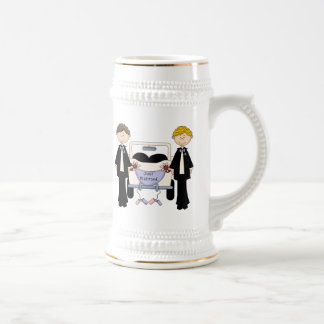 Gay Male Wedding Just Married Tees and Gifts Beer Stein