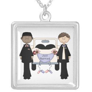 Gay Male Wedding Just Married Tees and Gifts Necklace