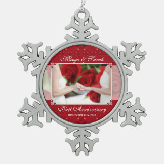 Gay Marriage 1st Anniversary Two Brides Snowflake Pewter Christmas Ornament