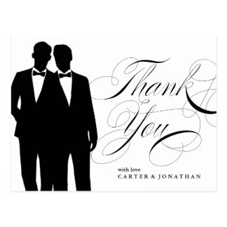 Gay Marriage Thank You Postcard Two Grooms