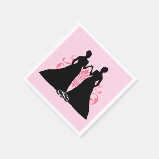 Gay Marriage Two Brides Pink Disposable Napkin