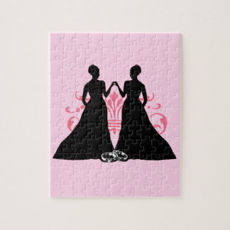 Gay Marriage Two Brides Pink Jigsaw Puzzle