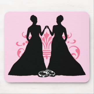 Gay Marriage Two Brides Pink Mouse Pad