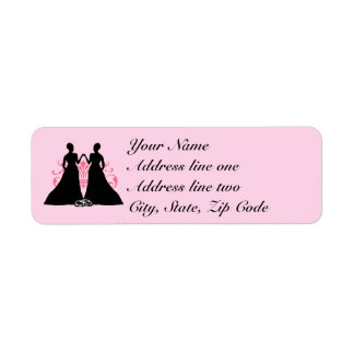 Gay Marriage Two Brides Pink Return Address Label