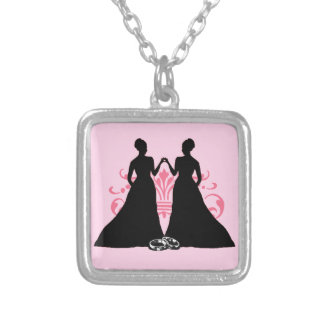 Gay Marriage Two Brides Pink Silver Plated Necklace