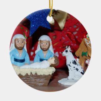 Gay Nativity: Love Makes a Holy Family Round Ceramic Ornament