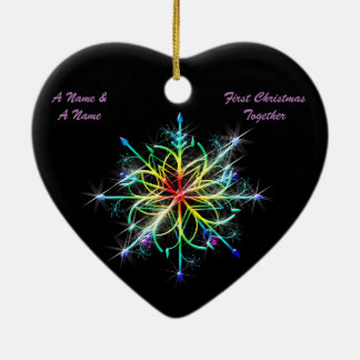 Gay Newly Weds First Christmas Pride Snowflake Ceramic Heart Ornament