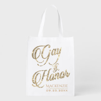 Gay of Honor BFF Bridal Party Faux Gold Glitter Reusable Grocery Bag