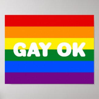 GAY OK Big White Logo LGBT Gay Pride Rainbow Flag Poster