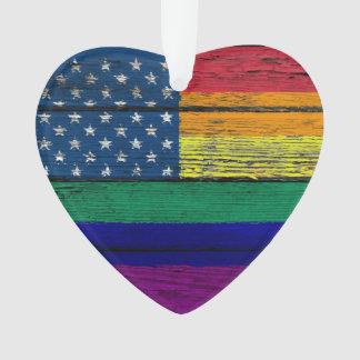Gay Pride American Rainbow Flag with Wood Effect